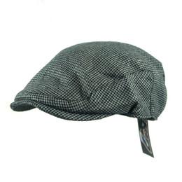 Wholesale Mens Newsboy Caps - Wholesale-Newsboy Hats Caps Retro Herringbone Tweed Stripe Golf Driving Men Wool Fleece Hat Cabbie Hats Cap Mens Winter Hat