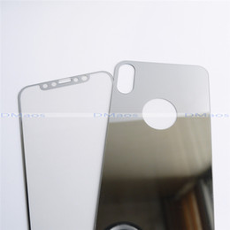 Wholesale Iphone Front Glass Gold - For iPhone X Case 5.8 Mirror Effect Tempered Glass Screen Protector Colorful Front and Back 2 pcs Top Quality Cover Drop shipping