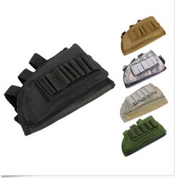 Wholesale Guns Hunting Bags - Tactical Pouch Holder w  Cheek Leather Pad magazine Molle bag for hunting airsoft Rifle gun Stock Ammo