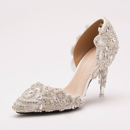 Wholesale Luxury Banquet Dress - Hot Promotion Luxury Bridal Shoes Appliques Crystal Wedding Shoes Rhinestone High Heel Evening Party Banquet Dress Shoes
