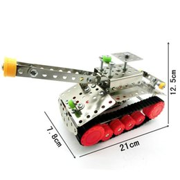 Wholesale tank models toys - Metal Tank Model Building Blocks Novelty Nut Dismounting 3D Assembly Toys Stainless Steel Toy Bricks New Arrival LX016 B