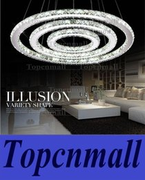 Wholesale Diamond Semi Mounts Pendants - Stainless steel 3 Circles 65W LED K9 Crystal Chandelier Hot sale Diamond Ring Modern Pendant Lamp LED lights D30 50 70CM