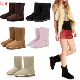 Wholesale Girls Brown Suede Boots - 2016 Unisex Men Women Snow Boots Casual Flats Winter Shoes Woman Warm Ankle Half Boots With Fur Girls Snow Shoes Black Pink 18795