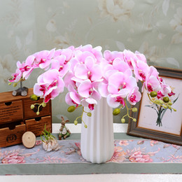 Wholesale Orchid Sales - DIY Moth Orchid Silk Flower Colorful Artificial Phalaenopsis Decorative Flowers Christmas Party Decoration for Sale SK603