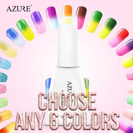 Wholesale Gel Nails For Sale - Azure top sales nail gel polish 6pcs lot temperature nail color UV gel polish nail gel for nail soak off gel polish