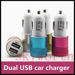 Wholesale Car Charger For Iphone5 - Newest Metal Alloy Shell Universal 2.1A Dual USB 2 Port Car Charger Auto Charging adapter For Apple iphone5 6 Samsung Blackberry