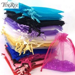 Wholesale Holiday Party Pack - FENGRISE 100ps 10x12cm Jewelry Gift Organza Bags Wedding Favors Candy Pouches Home Party Decoration Crafts Pack Festive Supplies