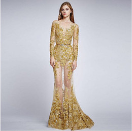 Wholesale Zuhair Murad Bandage Dress - 2016 Gold Bead Applique Sheer Illusion Bateau Long Sleeve Mermaid Zuhair Murad Formal Evening Dresses See Through Sexy Party Prom Dress Gown
