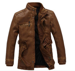 Wholesale Male Leather Wool Clothing - 3XL Men's Leather Jackets Men Stand Collar Coats Male Motorcycle Leather Jacket Casual Slim Brand Clothing SA010