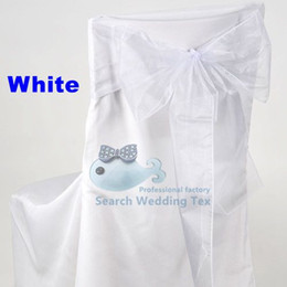 Wholesale Color Chair Cover - White Color Organza Chair Sash \ Chair Bow For Wedding Chair Cover Free Shipping