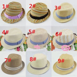 Wholesale Cool Style Child - Sunshine boy cool! Mix 9 style Children Summer Fedora Hats with bands Kids Jazz Caps Baby Straw Fedora hats 10pcs lot