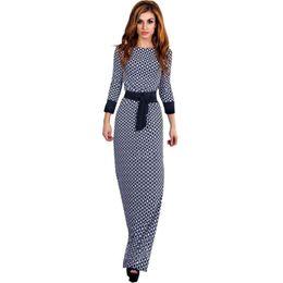 Wholesale Dots Maxi Dress - Wholesale-Women Elegant Vintage Vestido Dress Ladies O-Neck Long Sleeve Lace Maxi Dress