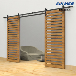 Wholesale Barn Sliding Door Track - KIN MADE Heavy Duty Rustic Black Double sliding barn door sliding track hardware