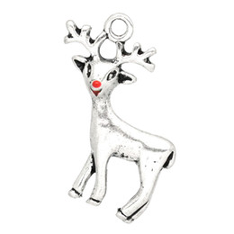 """Wholesale Reindeer Christmas - Free Shipping New Arrival 20PCs Silver Tone Christmas Reindeer Charms Pendants 24x21mm(1""""x7 8"""") party decoration"""
