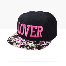 Wholesale Red Hat Fabric Wholesale - Wholesale-fabric flowers LOVER caps 2016 Korean new fashion brand three-dimensional embroidery hip hop cap sun hat for men women snapback