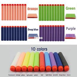 Wholesale Toy Soft Dart Blasters - 100 pcs lot N-strike Elite Rampage Retaliator Series Blasters Refill Clip Darts Soft Bullet 10 Colors