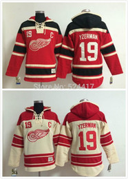 steve yzerman hoodies Promo Codes - 2015 Sweatshirt #19 Steve Yzerman Old Time Detroit Red wings Hockey Hoodie Jersey Sweatshirt Jerseys, Stitched and Sewn .