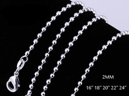 Wholesale Silver Necklaces Balls 2mm - Fashion 925 Sterling Silver Beads Chain Necklaces Jewelry 2mm 16'' -- 24'' 925 Silver Bead Ball Chains 50pcs lot