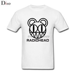 Wholesale Rock Roll Shirts - 2018 Short Sleeve 100% Cotton Radiohead Band Logo Rock N Roll T Shirt For Men Awesome Short Sleeve Crewneck Cotton Plus Size