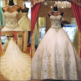 Wholesale Elaborate Dresses - 2017 Luxury Ball Gown Wedding Dresses Sweetheart Elaborate Crystal Beaded Organza Cathedral Wedding Gowns With Big Long Train Lace Up Back