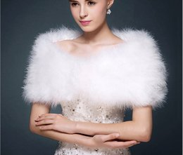 Wholesale Cheap White Ostrich Feathers - Cheap OSTRICH FEATHER Wrap Shrug Jacket Bolero Cape Available In Stock White Color Evening Party Wrap Bridal Wraps Free Shipping J1216