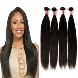 Wholesale Brazilian Straight Perm - Virgin Brazilian Straight Hair Extensions 8A 100% Human Hair Weave 4 Bundles 100g pc 8-28 Inches Natural Color Factory Price Can Be Permed