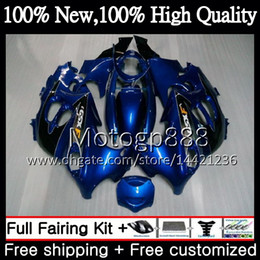Wholesale dark blue katana - Body For SUZUKI KATANA GSXF 600 750 GSXF600 98 99 00 01 02 21G815 GSX600F Blue silvery GSXF750 1998 1999 2000 2001 2002 Motorcycle Fairing