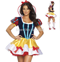 Wholesale Sexy Lingerie Halloween Party Cosplay - 151204 Sexy Halloween adults deluxe snow white Princess costume fairytale Cosplay Night Club wear party dress lingerie for women