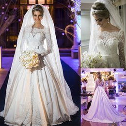 Wholesale Satin Bridal Sleeves - Elegant A-Line Wedding Dresses Off-Shoulder Neck Ivory Satin Long Sleeves with Lace Pearls Zipper Back Court Train 2016 Custom Bridal Gowns