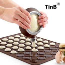 Wholesale Cake Tool Box - Macarons mold 2pcs set large silicone pad + special decorative device with color box baking tools package for making cake