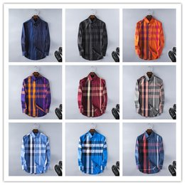 Wholesale check shirts - 2017 Brand Men's Business Casual shirt mens long sleeve striped slim fit camisa masculina social male T-shirts new fashion man checked shirt