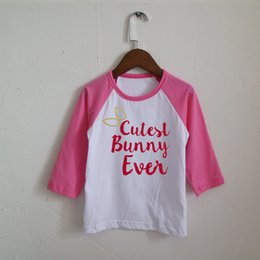 Wholesale Happy T Shirt - Happy Easter Cutest Bunny Ever Girls Easter Shirt O-Neck Hot Pink Raglan Long-Sleeve T-shirts Ready To Ship
