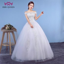 Wholesale White Lace Boat Neck Dress - ISER QUEEN Beading Boat Embroidery Plus Size Princess Wedding Dress 2018 Cap Sleeve Lace Up back Off White Color Elegant Bridal Dress WX0043