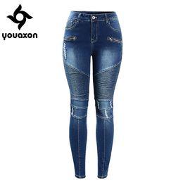 Wholesale Motor Jeans - Wholesale-2077 Youaxon Women`s Motorcycle Biker Zip Mid High Waist Stretch Skinny Pants Motor Jeans For Women