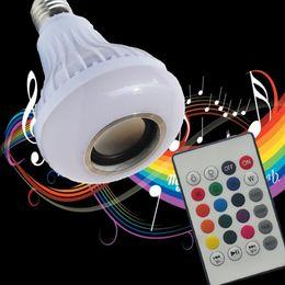 Wholesale Audio Led Lights - E27 Wireless Bluetooth Speaker +12W RGB Bulb LED Lamp 110V 220V Smart Led Light Music Player Audio with Remote Control
