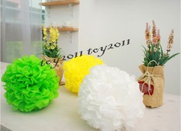 Wholesale Paper Holiday Crafts - 100pcs mixed size Paper flowers ball Wedding Decoration Colorful Paper Flowers Ball Craft paper flowers Pom poms for Christmas wedding Party