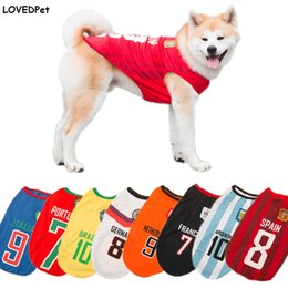 Wholesale Dog Costume Large - Pet dog Vests World Cup clothes for Large Dogs Costumes for big animals Huntaway Rottweiler Summer T Shirt FIFA Football clothes