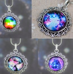 Wholesale Space Glasses - Women Men necklace Galaxy Nebula Space Antique Silver Glass Dome Gemstone Pendant Necklace Friendship BFF Necklace Astronomy Geek Jewelry