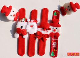 Wholesale Red Slap Bracelets - Christmas gift Xmas Santa Claus Snowman toy slap pat circle Bracelet Wristhand christmas tree decoration ornament H442