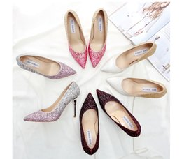 Wholesale High Heel Shoes Gold Paillette - Wedding Shoes Crystal shoes Paillette Gradient ramp High-heeled shoes Corium Thin with Pointed toe Golden Silver Multicolor