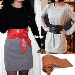 Wholesale Wholesale Elegant Corsets - Women Elegant PU Leather Wrap Around Bowknot Bind Wide Waistband Corset Cinch Belts All-match Wide Stretch Waist Cummerbund