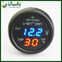 Wholesale Digital Battery Tester Auto - 12V 24V Digital Auto Car Thermometer+Car Battery Voltmeter Voltage Meter+ car-mounted USB charger VST-706 Blue LED