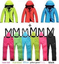 Wholesale Men Dress Suits Cheap - Wholesale-CHEAP pure colors Women Men Ski Suit Sets outdoor Sports Waterproof&Windproof Snowboard Clothing warm dress Skiing