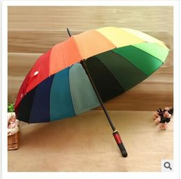 Wholesale iron 55 - Rainbow Umbrella High Quality 16K Golf Umbrella Automatic Long-handle Umbrella Sunny Rainy Pongee Rainbow Adult Color Umbrella Dhgate New