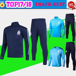 Wholesale Marseille Football Kit - Marseille blue Training suit kit long sleeve 2017 18 Marseille soccer jersey Training uniform 2018 football uniform +pants Sales