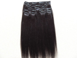 Wholesale Clip One Extensions - brazilian human clips in hair extensions straight light yaki hair weft natural black color 100g one bundle 9pieces one set