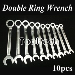 Wholesale Wholesale Brass Brushes - Freeshipping Metric 10 sizes Chrome Vanadium Steel Ratchet Wheel Dual-use Open   Ring Spanner Combination Wrenches Set Tools Kit