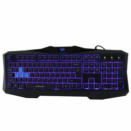 Wholesale Illuminated Keyboard Laptop - Wholesale-Good Quality Cool Blue LED USB Wired Gaming Laptop Keyboard with Backlight Illuminated Backlit For Gamer Free SHipping