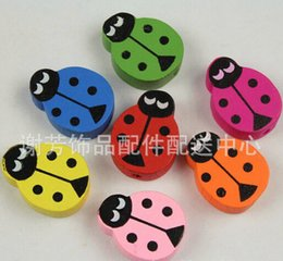 Wholesale Wood Beads 15mm - 100pcs Mixed 20*15mm wood beads DIY jewelry beads spacer beads loose beads Wood Ladybird Coccinella septempunctata wood beads accessories