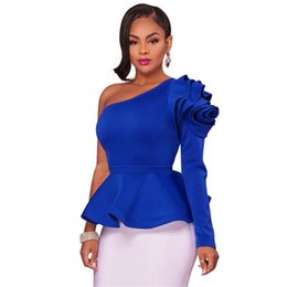 Wholesale Cocktail Evening Tops - Women 3D Ruffle Sleeve Blouse 2017 Autumn Winter Fashion Skew Collar One Shoulder Shirts Long Sleeve Party Cocktail Evening Elegant Tops